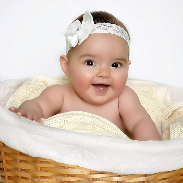 334ebaec7b677 Baby Girls Ivory Lace Headband with Sparkly Heart Satin Bow ...